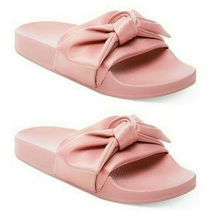 Shoes - New Silk Bow Slide Slip On Satin Pink Sandals 8.5